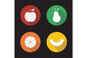 Fruit flat design long shadow icons set