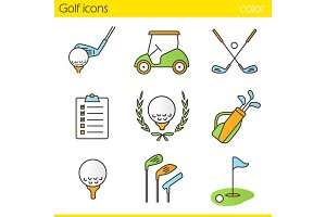 Golf color icons set