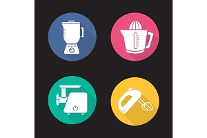 Kitchen appliances flat design long shadow icons set
