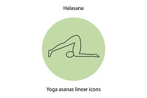 Halasana yoga position linear icon