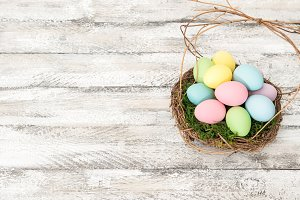 Easter eggs in nest decoration