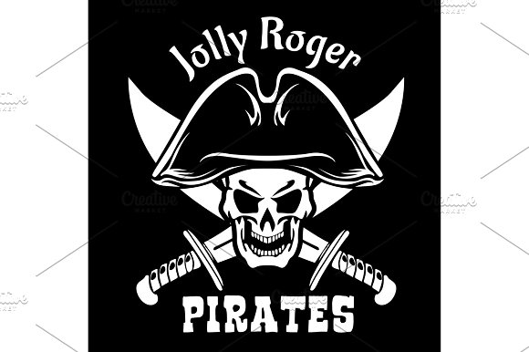 Pirates Jolly Roger Symbol Vector Poster Of Skull With Pirate Eye Patch Crossed Bones And Swords Or Sabers Black Flag For Entertainment Party Decor Alcohol Drink Bar Or Pub Emblem Or Sign