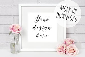 Pretty Square Frame Photo Mockup