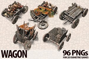 Isometric Wagon PNG Collection