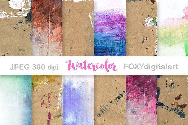 Watercolor digital paper scrapbook