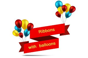 Festive ribbons with color balloons