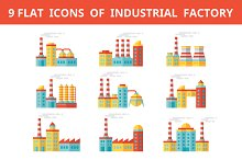 Industrial Factory Flat Icons