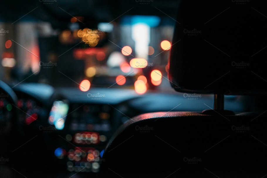 Night Road View From Inside Car Technology