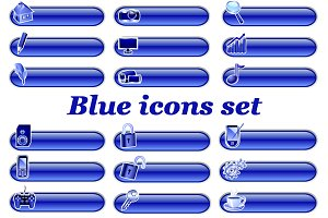 Set of blue computer icons