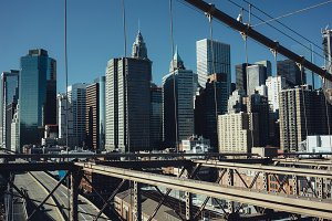 Lower Manhattan and Brooklyn Bridge in New York City