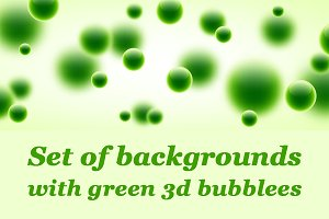 Set of cards with green 3d bubbles