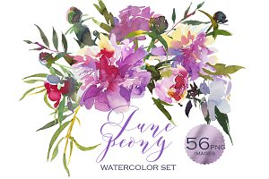 Pink Peony Watercolor Clip Art Set