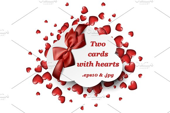 Two Cards With Red Bow And Hearts