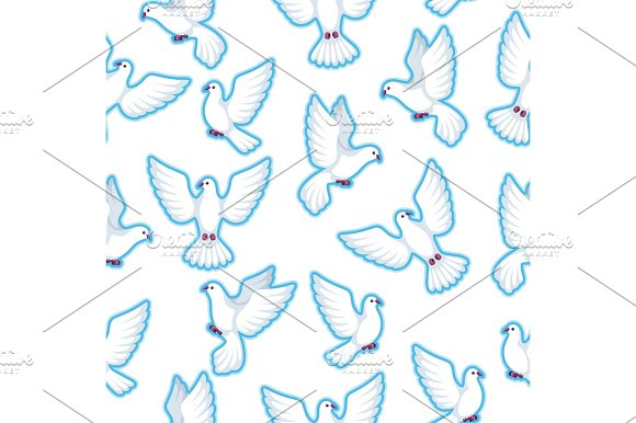 Seamless Pattern With White Doves Beautiful Pigeons Faith And Love Symbol