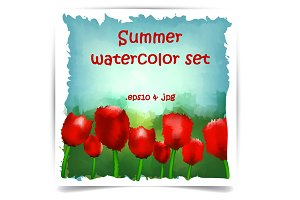 Summer watercolor set with tulips