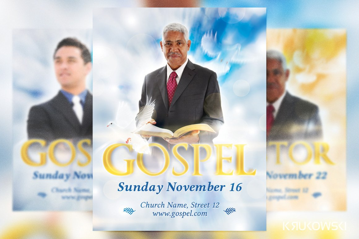 gospel flyer template flyer templates creative market