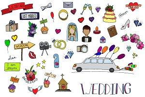 Wedding set icons
