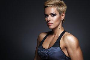 closeup portrait of sporty beautiful woman