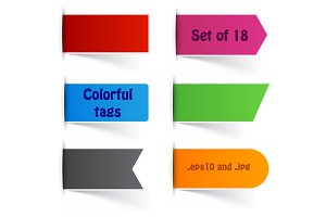 Set of 18 colorful paper tags