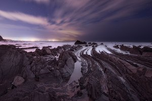 Coast of Barrika at night