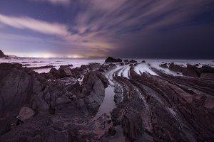 Coast of Barrika at night