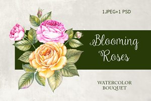 Blooming Rose Watercolor Bouquet