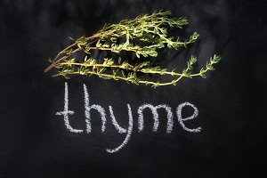 thyme on a chalky black board