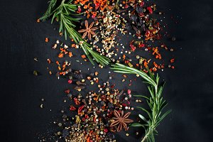 bunches of herbs and spices black