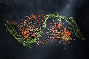 Fresh bunches of herbs and spices