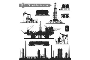 Oil industry set (vector EPS + JPG)