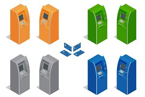 ATM machines. Payment using credit card. Banking finance money.