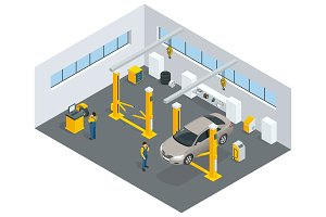 Auto mechanic service. Service station. Flat icons of maintenanc