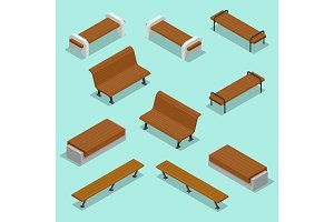 Bench. Outdoor park benches Icon Set. Wooden benches for rest in the park. Flat 3d isometric vector illustration for infographics.