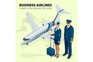 Business airlines, Planes flying around the globe. Flat 3d isome