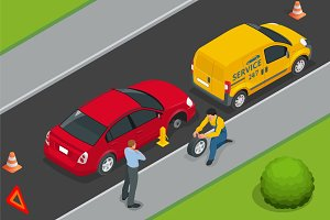 Roadside assistance car. Man changing wheel on a roadside. Auto