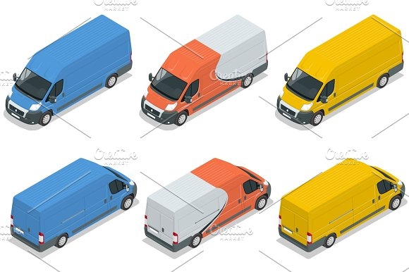 Commercial Vehicle Van For The Carriage Of Cargo Flat 3D Vector