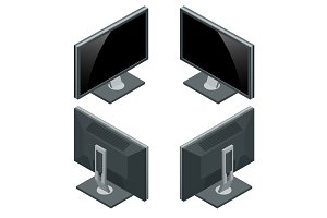 Computer monitor, display isolated on white. Flat 3d Vector isom
