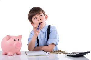 Child calculating their savings