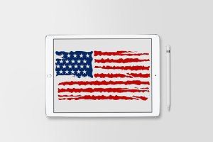 American Flag Distressed SVG Vector