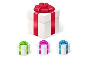 Set of colorful gift boxes with bows