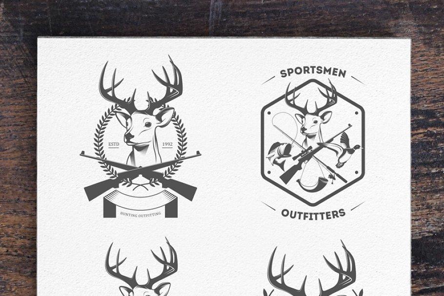 Hunting Badges Labels Logo ~ Logo Templates ~ Creative Market