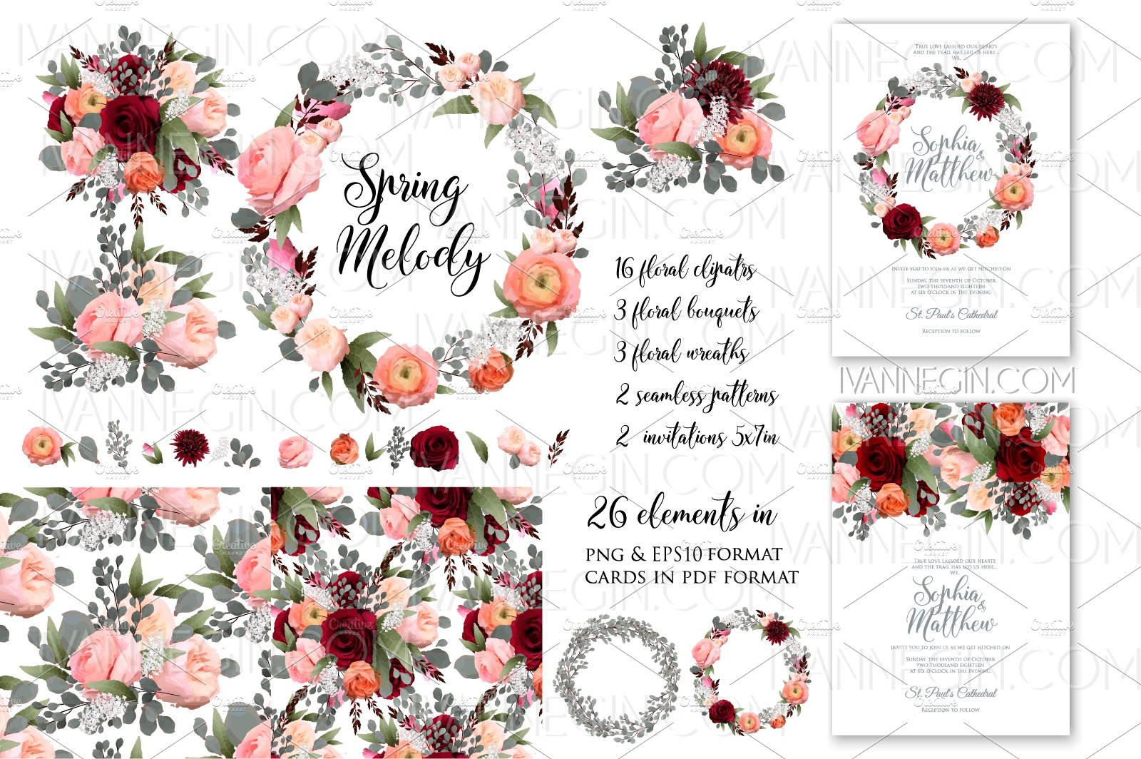 Free Clipart For Wedding Invitations: Rose Wedding Invitation Card Clipart