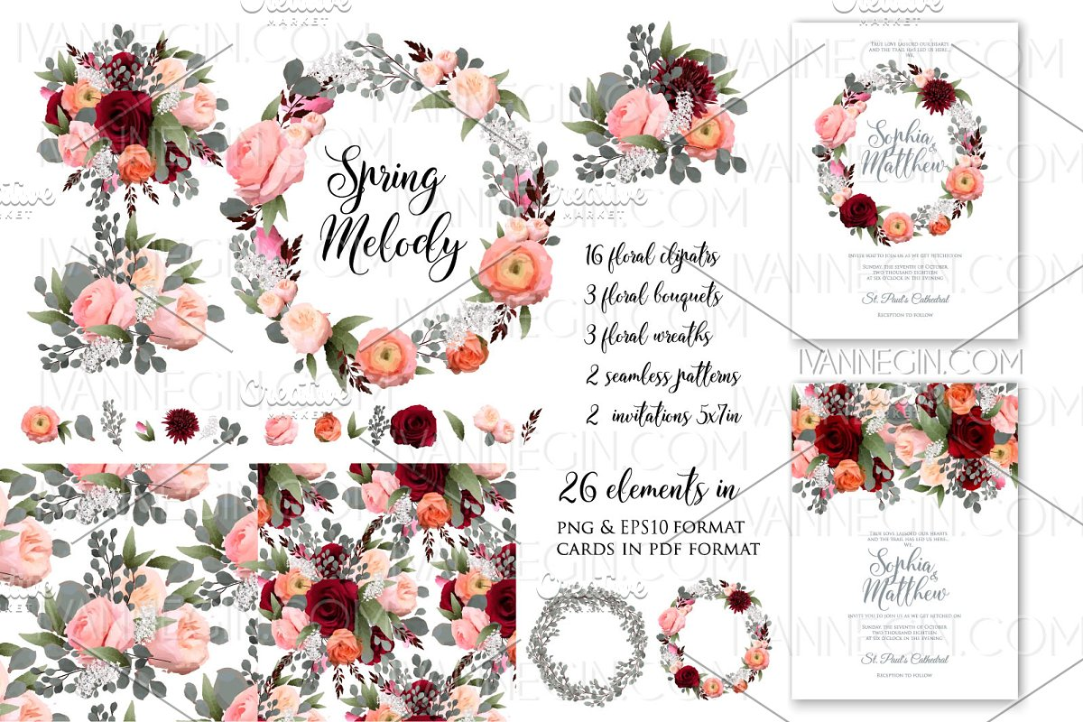 Rose Wedding Invitation Card Clipart Custom Designed