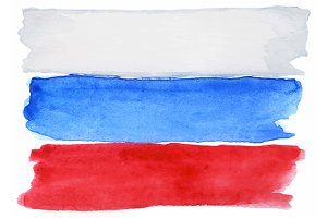 Watercolor Russian flag vector