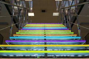 The colored glass staircase