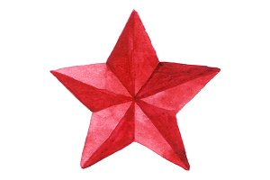 Red metal star medal vector isolated