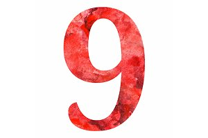 Red number figure 9 vector isolated