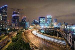 City lights of Canary Wharf