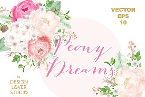 VECTOR watercolor Peony Dreams