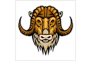 Buffalo head emblem isolated on white background. Design element for logo, label, sign, brand mark.